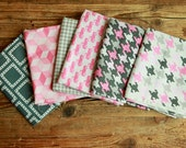 Custom Michale Miller Fabric Fat Quarter Bundle Pink & Gray Trucks Houndstooth