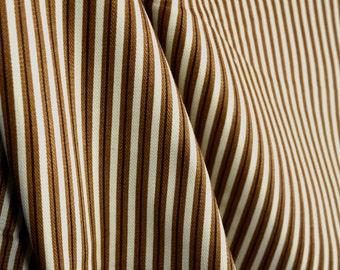 Brown Tan Cream Striped Fabric