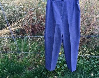 Grey Plaid High Waist 80's Trousers Large