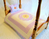 DOLL QUILT and PILLOW-Doll Blanket-Doll Bedspread, Pillow, American Girl Doll, Sasha, Gotz, Madame Alexander, Purple Lavender White Yellow