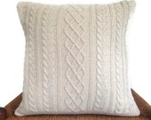 Cable Knit  Sweater Pillow Up Cycled Off White Sweater Silver Metallic