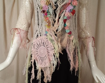 Sweater Jacket The Celeste Art to Wear Cinderella Hippie Boho with Vintage Lace and My Artwork