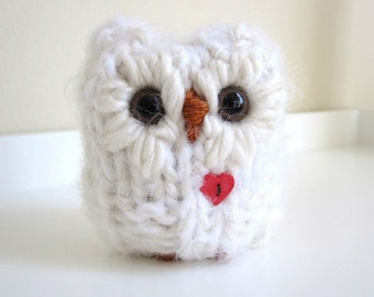 Valentine Snow Owl, Plush Knitted Wool and Mohair Love Animal