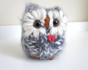 Cozy Little Owl bird, Woodland Valentine, Plush Knitted Wool and Mohair Love Owl