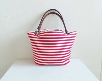 Drawstring Tote Bag - Red Stripes