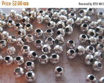 20% OFF ON SALE 100 pcs Silver Tone Round 3mm Spacer