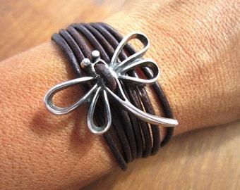 dragonfly bracelet, womens bracelets, silver bracelet, leather bracelet, beaded Bracelets, fashion jewelry, accessories, charm Bracelet