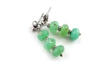 Sterling silver earring, chrysoprase earring, dangle gemstone earring, everyday jewelry