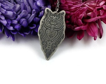 Etched silver necklace, sterling silver jewelry, owl pendant