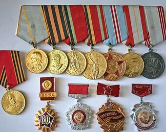 Soviet Vintage Badge Badges - Set of 12 Pins - Communist Socialist Propaganda Awards / USSR - from Russia / Soviet Union