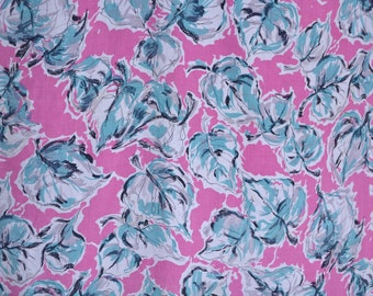 Vintage 1950s Pink Cotton Fabric - Blue Leafy Yardage  - 3 2/3 Yards 44 Inch Wide Bolt - Sewing Supplies