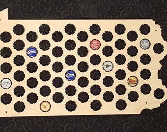 Pennsylvania Shaped Beer Cap Map -- Holds 73 Bottle Caps -- Perfect for your favorite beer lover -- Made in the USA