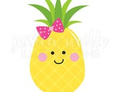 Pineapple Cutie Cute Digital Clipart, Pineapple Clip art, Girly Pineapple Graphics, Illustration, #1645