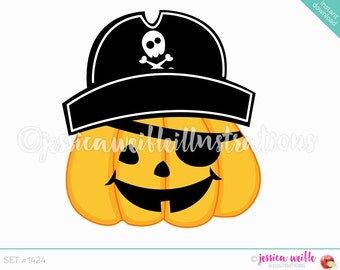 Instant Download Cute Pirate Jack o Lantern Digital Clipart, Cute Halloween Pumpkin Clip art, Jack O Lantern, Pirate Hat Illustration, #1424