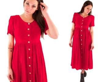 PHOEBE 90s Bright Red Gauzy Button Up Babydoll Grunge Maxi Short Sleeve Dress Small Medium