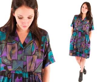 BILLIE 80s Rad Abstract Purple Teal Pattern Print Slouchy High Waist Collared Baby Doll Spring Dress Medium M