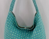 Aqua, Turquoise and Lime, Checks and Dots, Upholstery Slouchy BAG, Medium Shoulder Purse, Spring summer, Small Hobo, Sling BAG