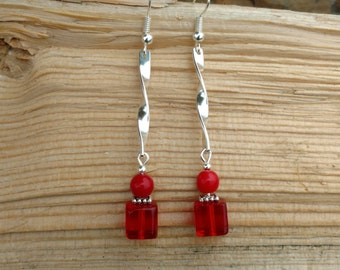 Long Red Silver Earrings, Long Silver and Red Earrings, Long Red Dangle Earrings, Silver Red Long Earrings
