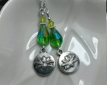 Green Lotus Earrings, Crystal Green Silver Lotus Sterling Silver Earrings, Green Flower Sterling Earrings, Green Flower Earrings