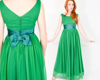 60s Silk Evening Dress Gown | Kelly Green Chiffon Prom Party Dress, Small