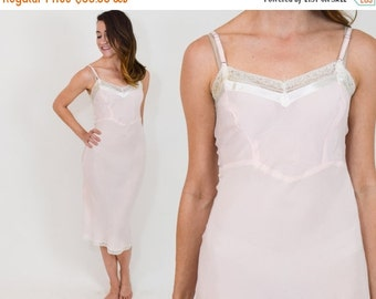 SummerS SALE 50s Pink Slip | Blush Rayon Slip Lingerie Nightgown | Extra Small
