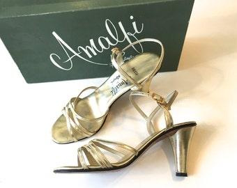 Gold Sandals 50s Metallic Gold Evening Shoes | High Heel Shoes, 6 36