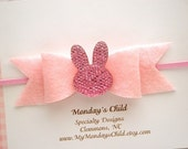 Felt Bunny Bow, Easter Baby Headband, Easter Headband, Bunny Bow Headband, Bunny Headband, Baby Headband, Toddler Headband, Newborn Headband
