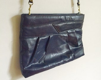 Vintage Navy Blue Faux Leather Purse/Clutch with Alligator Skin Print Detail // 1980s