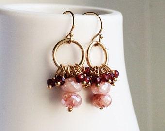 Garnet Earrings, Peach Moonstone, Drop Earrings, Autumn Jewelry