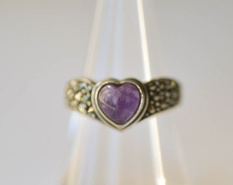 Heart Amethyst Ring Sterling Silver, Marcasite and Amethyst Size 7 1/2