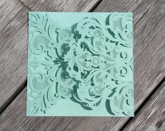 Elegant Laser Cut Folder in Shimmering Mint Green, Cream, Teal, Silver, Gold, Navy - SAMPLE ONLY -  VICTORIA Style