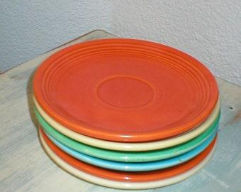 Vintage Homer Laughlin Fiesta Ware Six Saucers for Mosaics