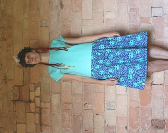 Green and blue bird patterned dress, short sleeves , sustainable and upmade from two unwanted textile leftovers, size L