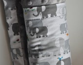 Gender Neutral Organic Baby Infant Toddler Minky XLARGE Snuggle Blanket, Grey Gray Elephant and Grey Gray Minky