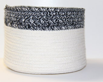 Black and White Clothesline Basket, Coiled Fabric Bowl, Clothesline Bowl, Fabric Basket, Fabric Pottery, Coiled Basket, Coiled Bowl