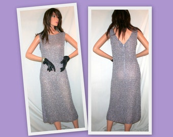 1960s Metallic Purple/Silver Hand Loomed Sleeveless Vintage Cocktail Dress by Irene of Glengyle