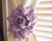 LABOR DAY SALE Three Dahlia Flower Curtain Tie Backs Curtain Tiebacks Curtain Holdback -Drapery Tieback- Baby Nursery Decor -Lilac Decor