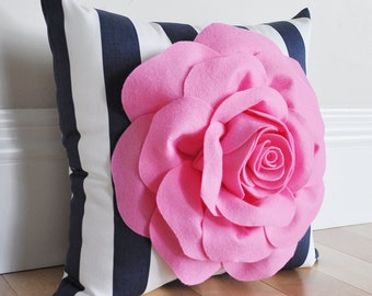Decorative Stripe Pillow - Navy Stripe Pillow - Bright Pink Rose on Navy Stripe Pillow - Baby Nursery Pillow - Pink Flower - Nursery Pillow