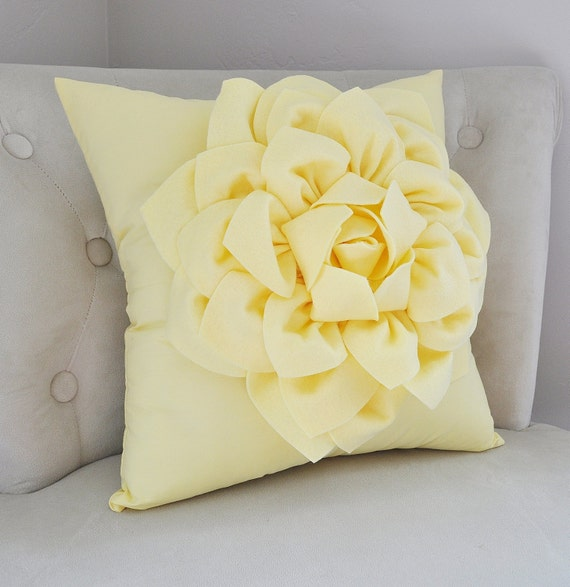 Pale Yellow Decorative Pillows : Light Yellow Dahlia Flower Pillow Decorative Spring Pastel
