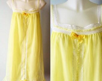 Vintage Chiffon Nightgown, 1960s Chiffon Nightgown, Craibo Wear, 1960s Nightgown, Chiffon Nightgown, Yellow Chiffon Nightgown