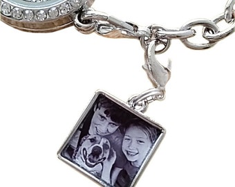 Engraved Photo Charm /Handwriting Engraving/Sterling Silver Photo Jewelry / Photo Pendant / Picture Charm/Memory Charm /Christmas gift