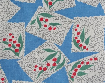 Vintage Feedsack Floral Feed Sack Flour Sack Fabric Blue Red White Lily of the Valley 37 x 44 inches