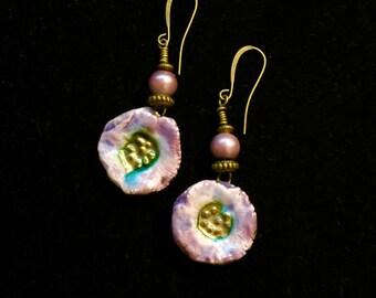 Purple Raku Flower Dangle Earrings