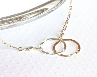 Gold Infinity Necklace, Gold Chain Necklace, Gold Circle Necklace, Gold Silver Necklace, Gold Filled Necklace, Christian Jewelry for Women
