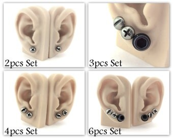 Screw Studs - Triple/ Double Piercing Earrings - Stud Earring Set - Silver Stud Earrings - Men Studs -Women Robot Costume Cyberpunk Cosplay