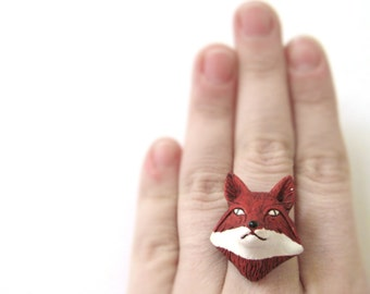 Red Fox Ring -Silver Fox Jewelry - Fox Costume - Fox Cosplay - Unique Rings For Women Teen Rings - Boho Jewelry