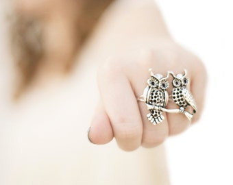 Owl Jewelry - Silver Owl Ring - Double Finger Ring - Two Finger Ring - Knuckle Duster Ring