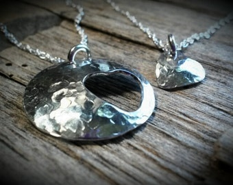 Brass, Copper or Sterling Silver Heart Cut-out Mother/Daughter Grandmother/Granddaughter Necklace set