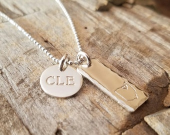 Love Ohio CLE Necklace Sterling Silver