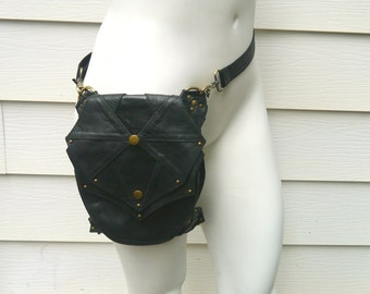 Galaxy Leg Holster Backpack Black and Antique Brass Steampunk Dieselpunk Leather Utility Belt Bag